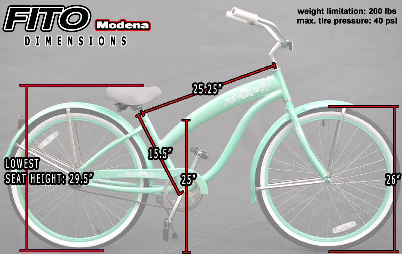 "Women/'s 26/"" Beach Cruiser Bike Mint green Fito Modena II Alloy 7-speed"